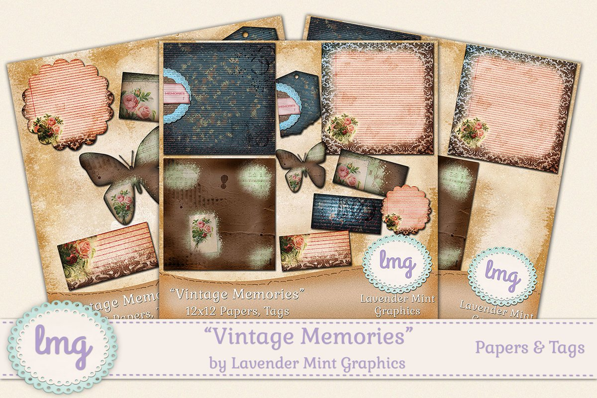 Vintage Memories Digital Scrapbook Papers and Tags example image 1