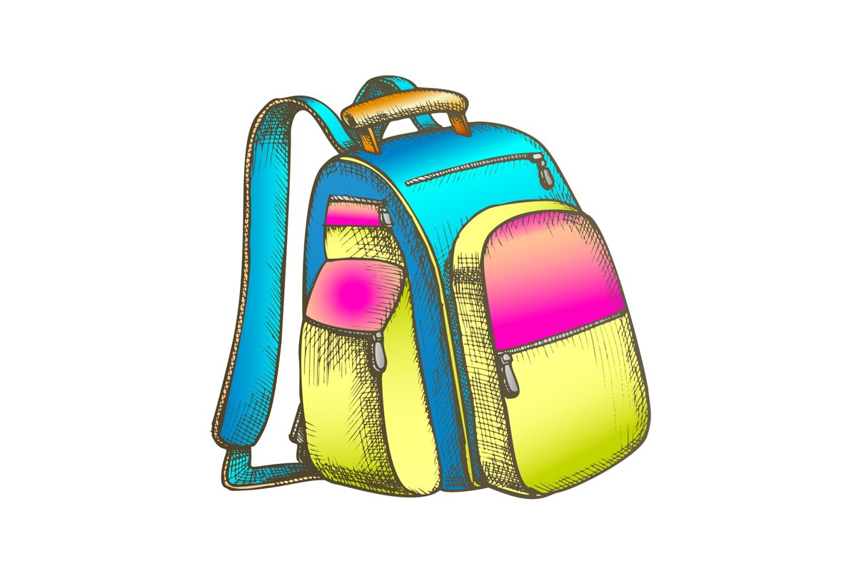 Modern Tourist Backpack Suitcase Color Vector example image 1