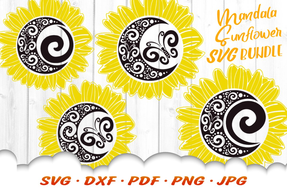 Mandala Butterfly Sunflower SVG DXF Cut Files Bundle example image 1