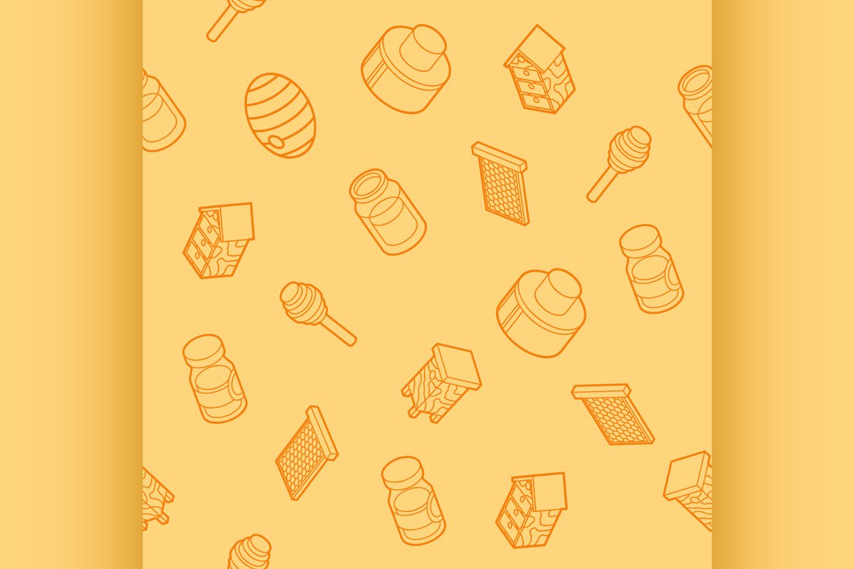 Honey flat outline isometric pattern example image 1