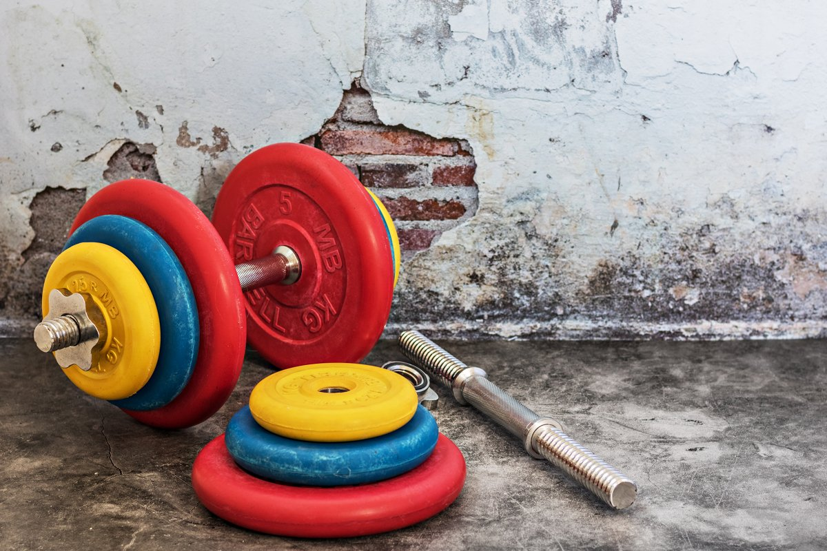Professional dumbbells and multi-colored weight plates on a example image 1