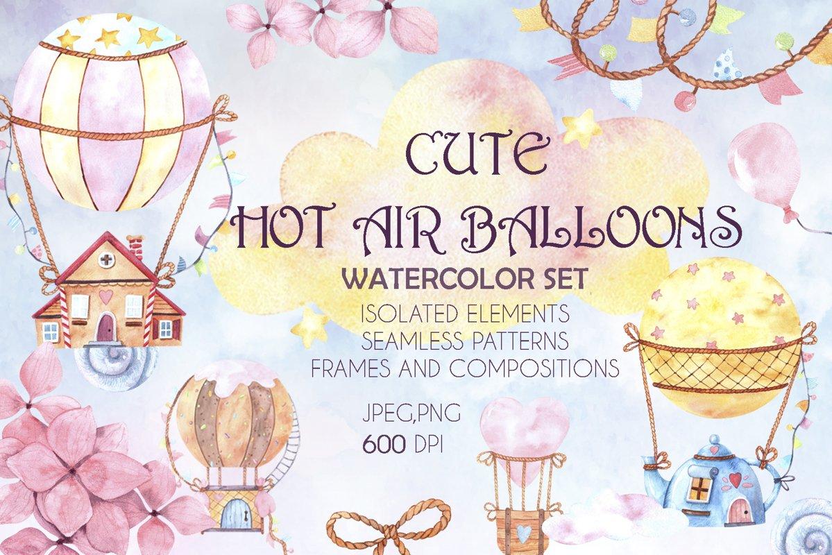Cute hot air balloons watercolor set example image 1