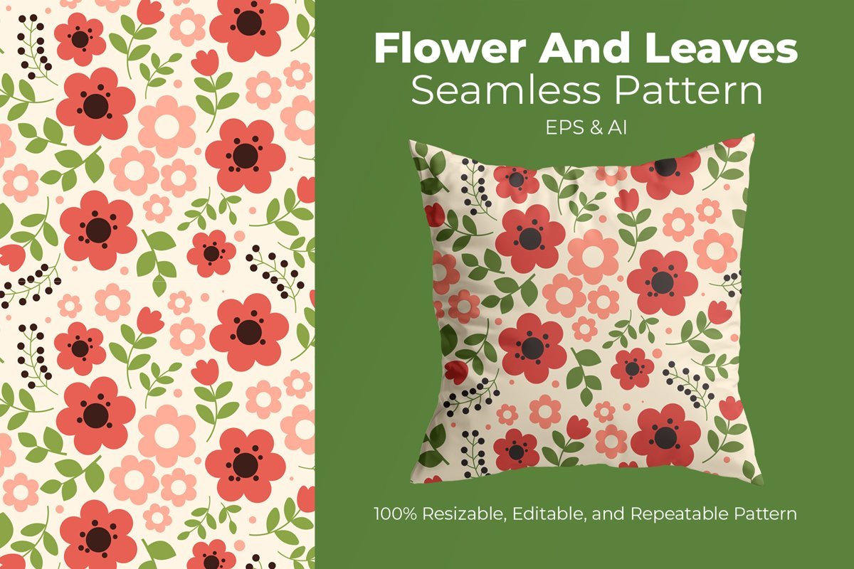 Flower And Leaves - Seamless Pattern example image 1
