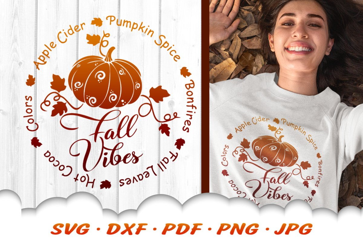Fall Vibes Pumpkin Round SVG DXF Cut Files example image 1