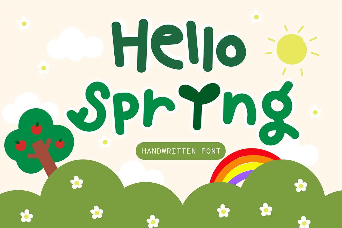 Hello spring Handwritten- Cute Baby font Kawaii style! example image 1