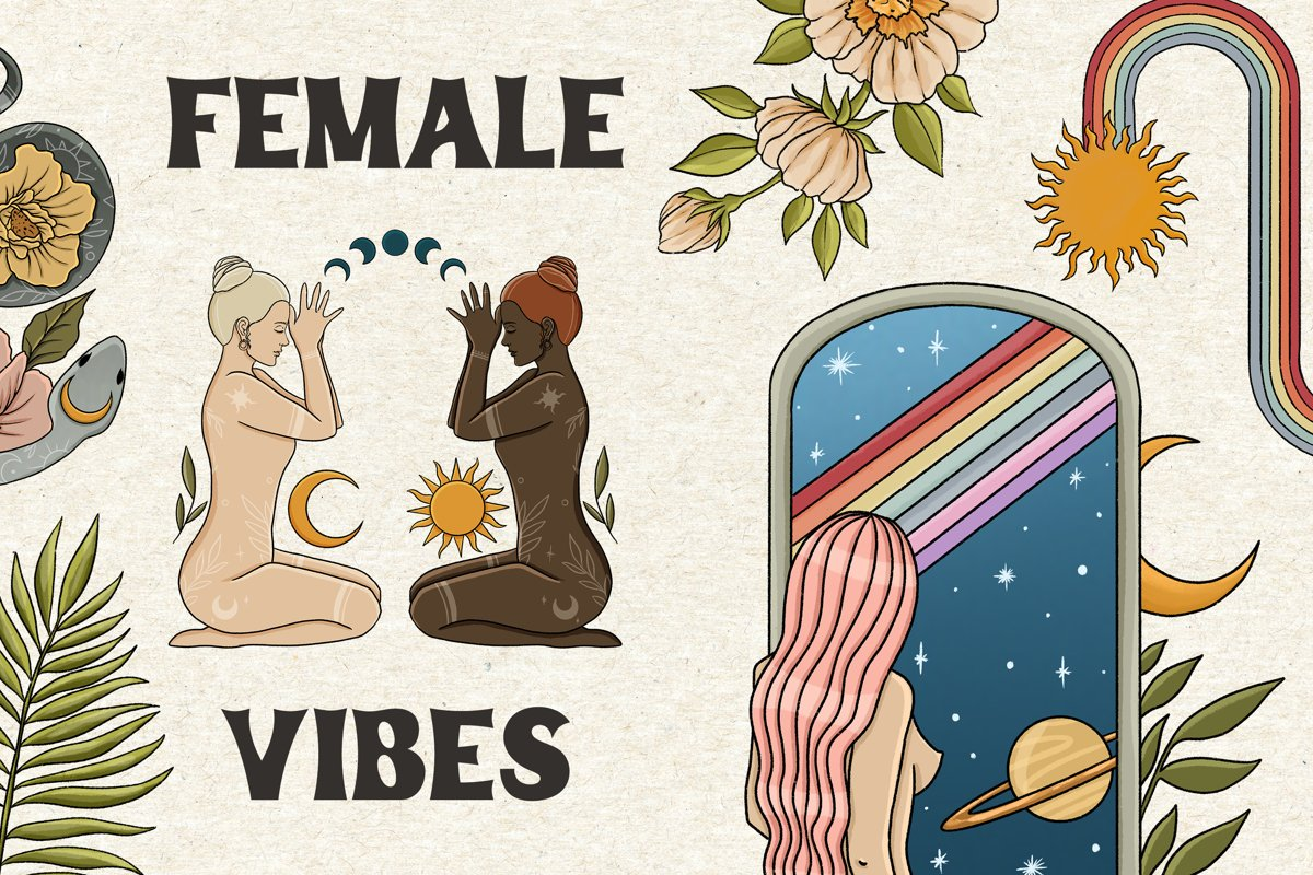 Female magic vibes clipart, Witch clipart, woman clipart example image 1