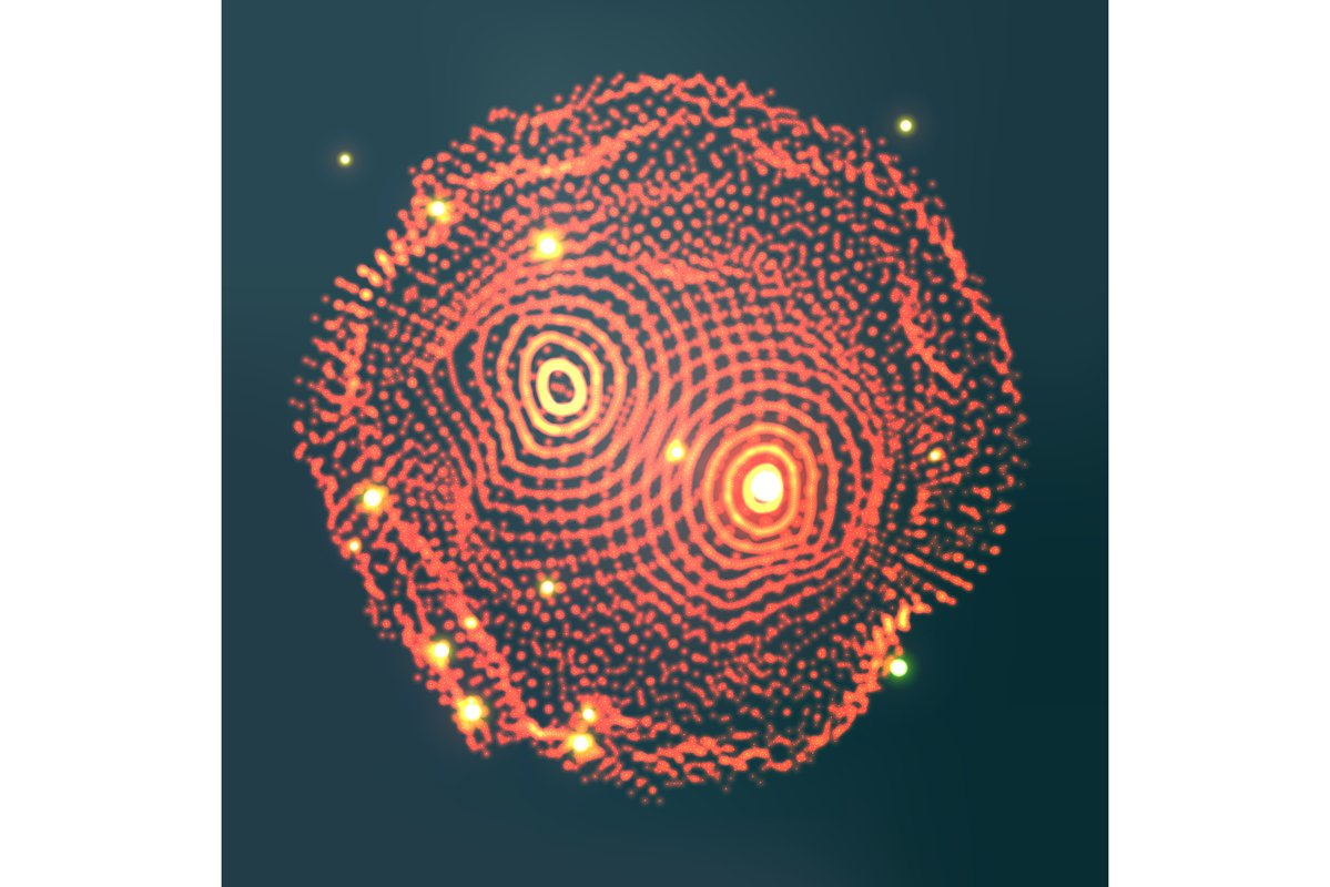 Glowing Abstract Sphere Vector. Cyber Sound Waves. example image 1