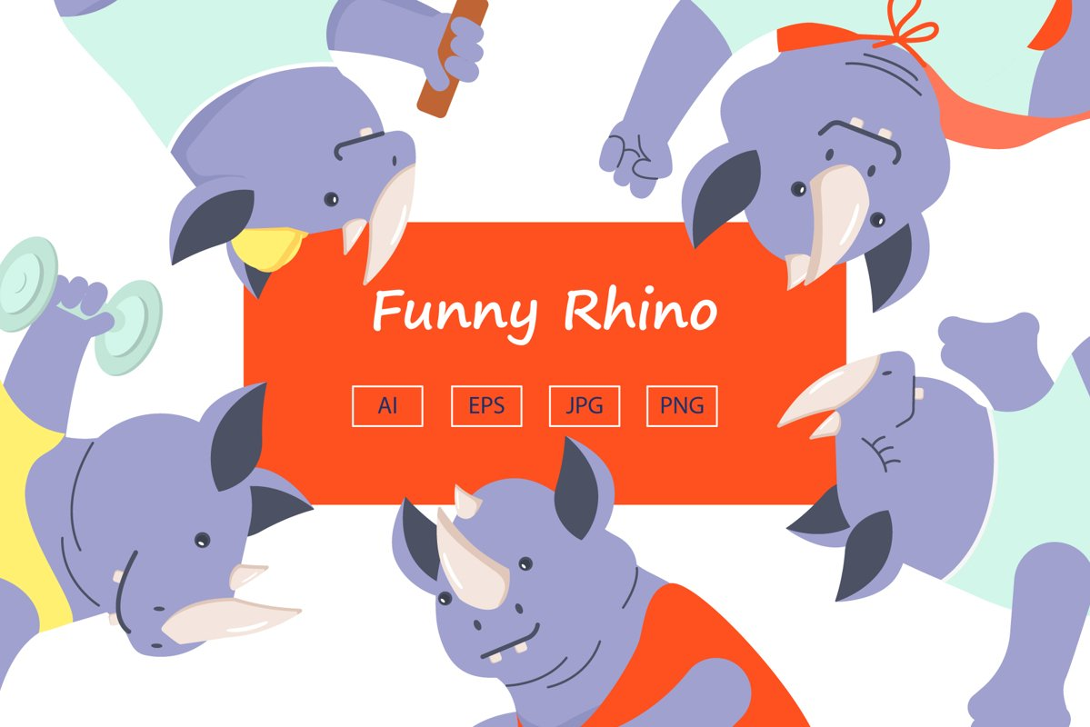 Funny Rhino characters example image 1