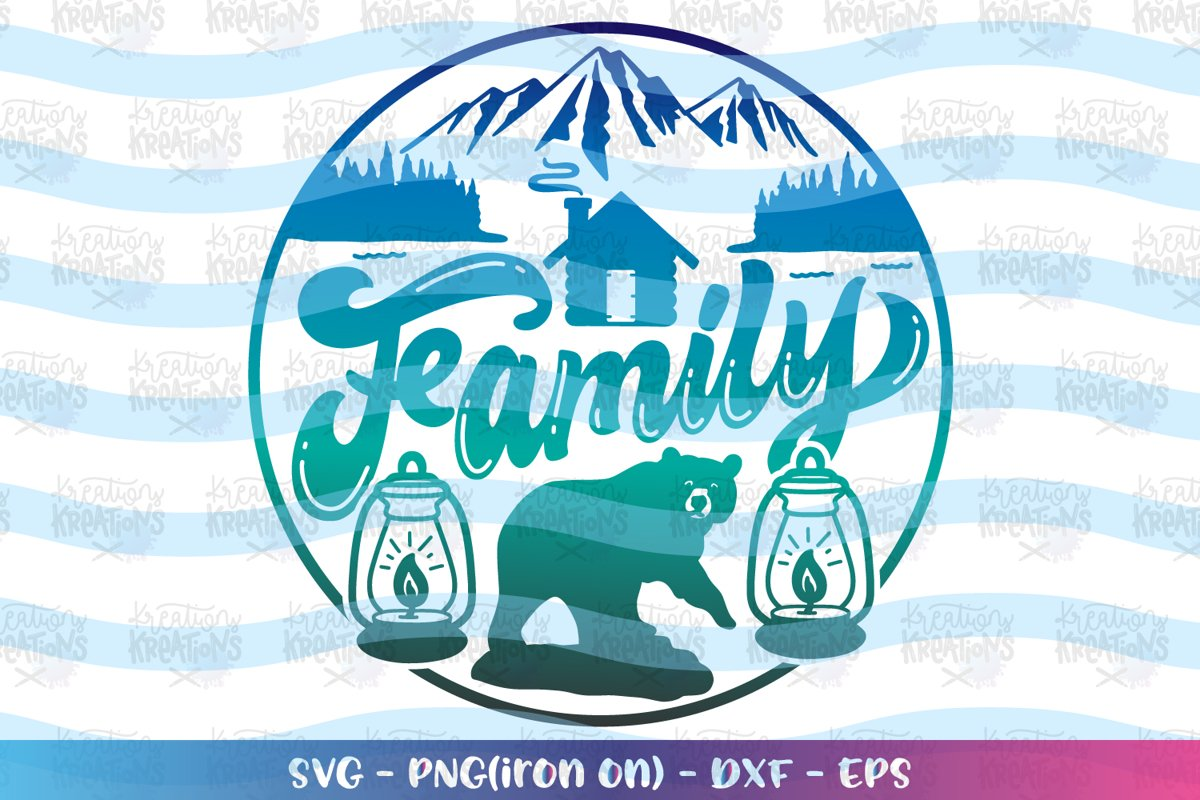 Camping svg Family Cabin Bear Mountains circle example image 1