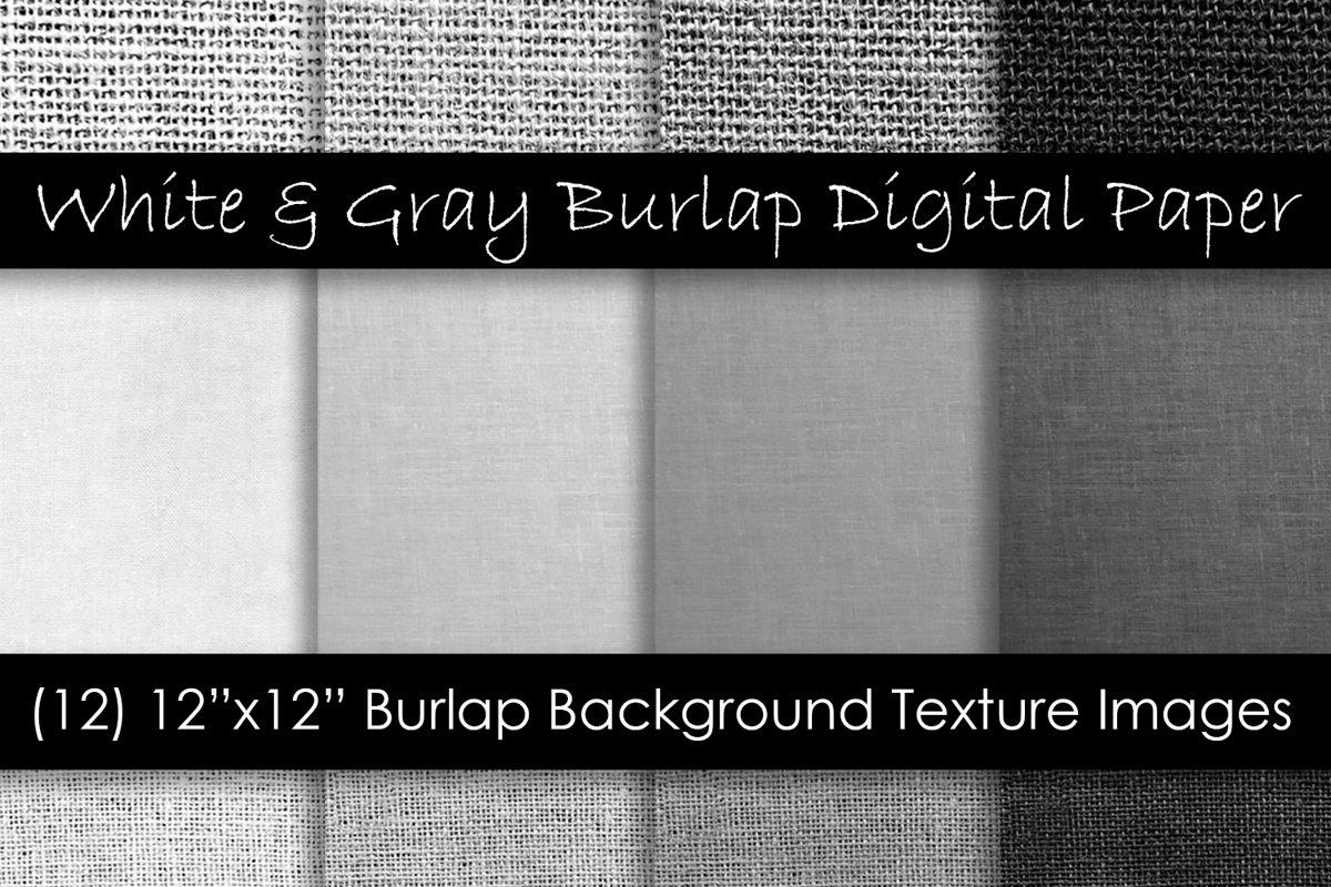 White & Gray Burlap Digital Paper - Burlap Backgrounds example image 1