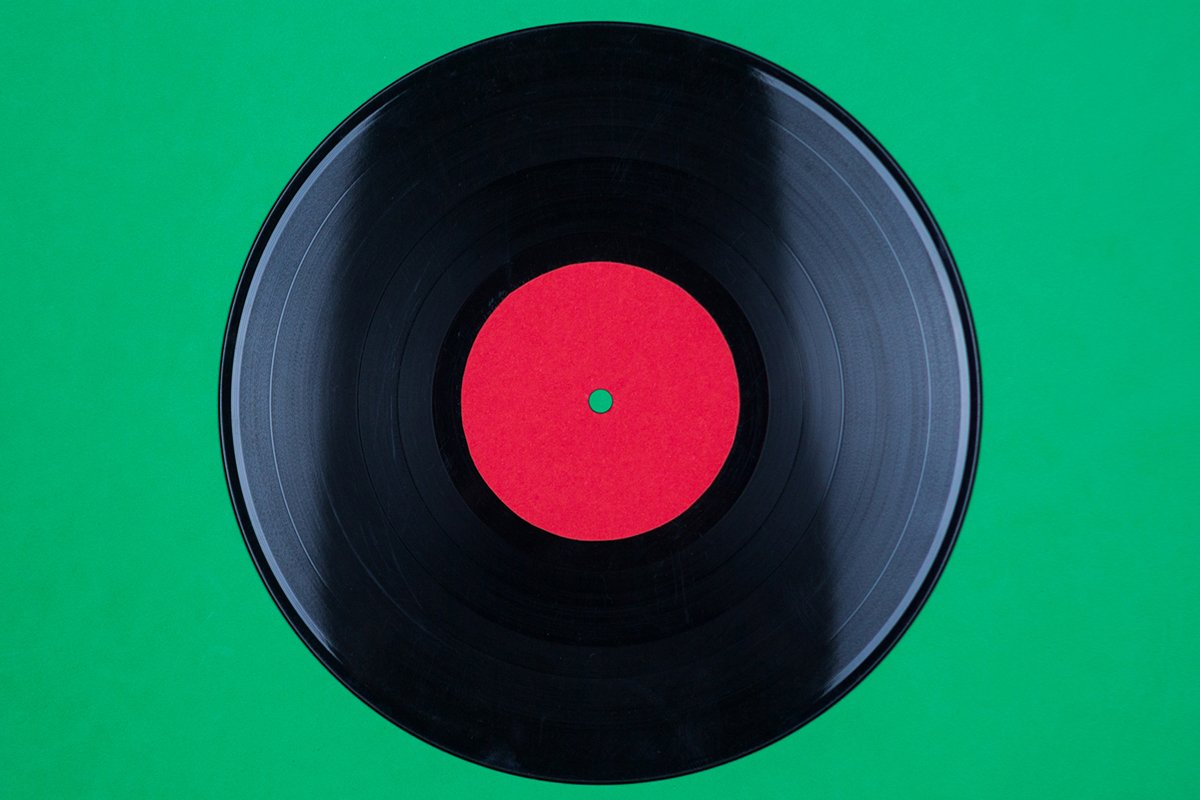 Closeup of Vinyl Long Play Record with Label with Copy Space example image 1