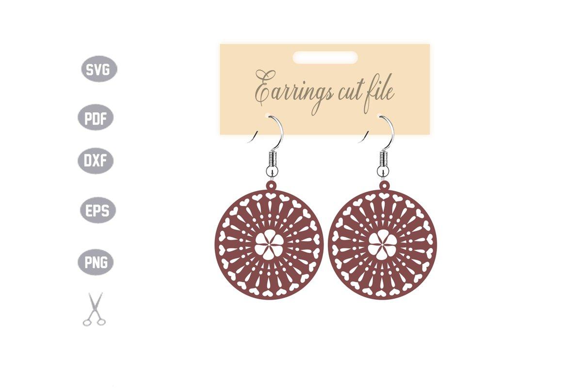 Mandala Earrings SVG example image 1