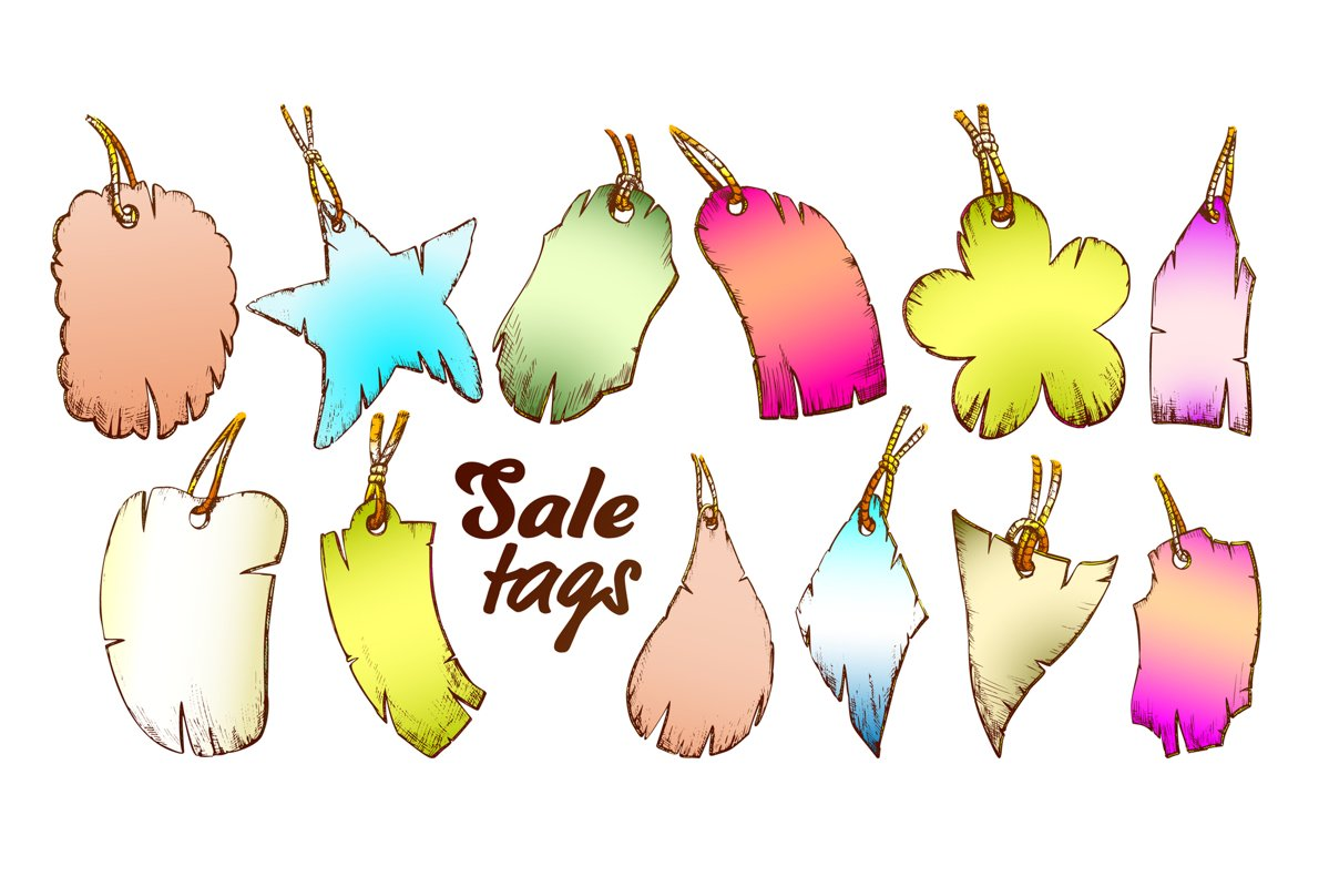 Label Tag In Different Forms Set Color Vector example image 1