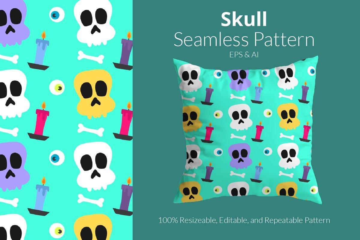 Halloween Skull Pattern - Seamless Pattern example image 1