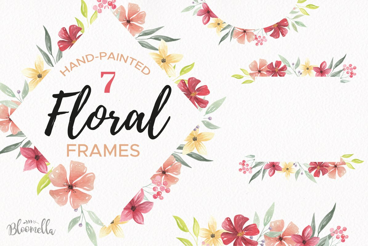 Watercolor Frames Borders Flowers Pink Red Set example image 1