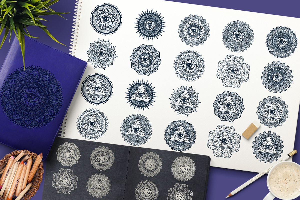Mystical Mandala With Eye In Triangle example image 1