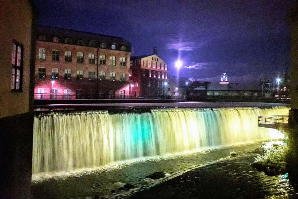 Waterfall in Industrial Landscape Night lights Norrköping example image 1