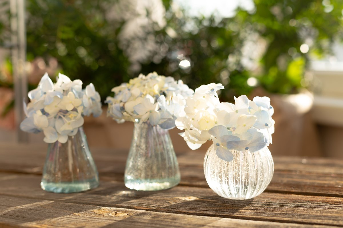 Blue hydrangea in crystal vase on wooden table. Home garden example image 1