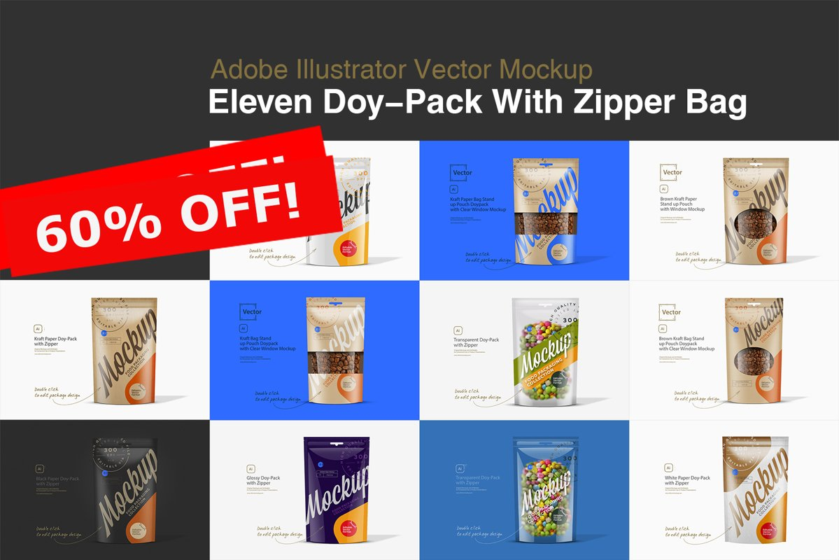 Eleven Doy-Pack With Zipper Bag Mockup example image 1