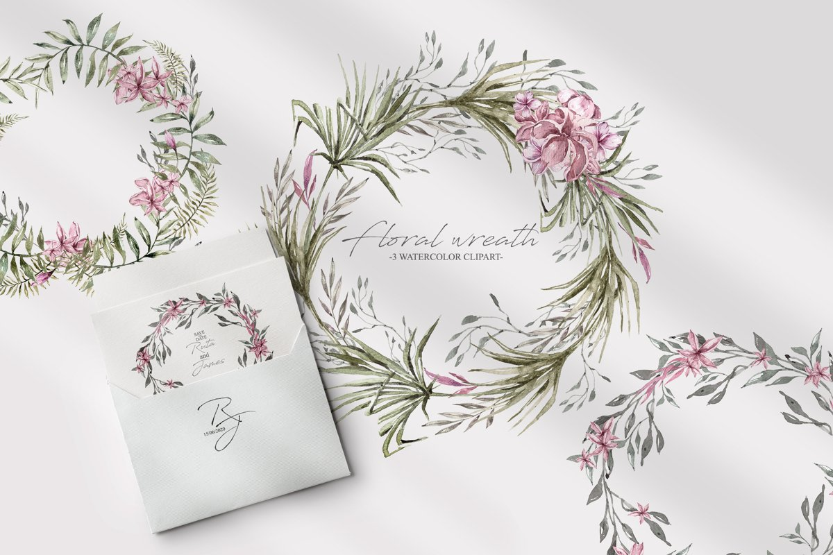 Watercolor floral wreath clipart. 3 Green wreaths example image 1