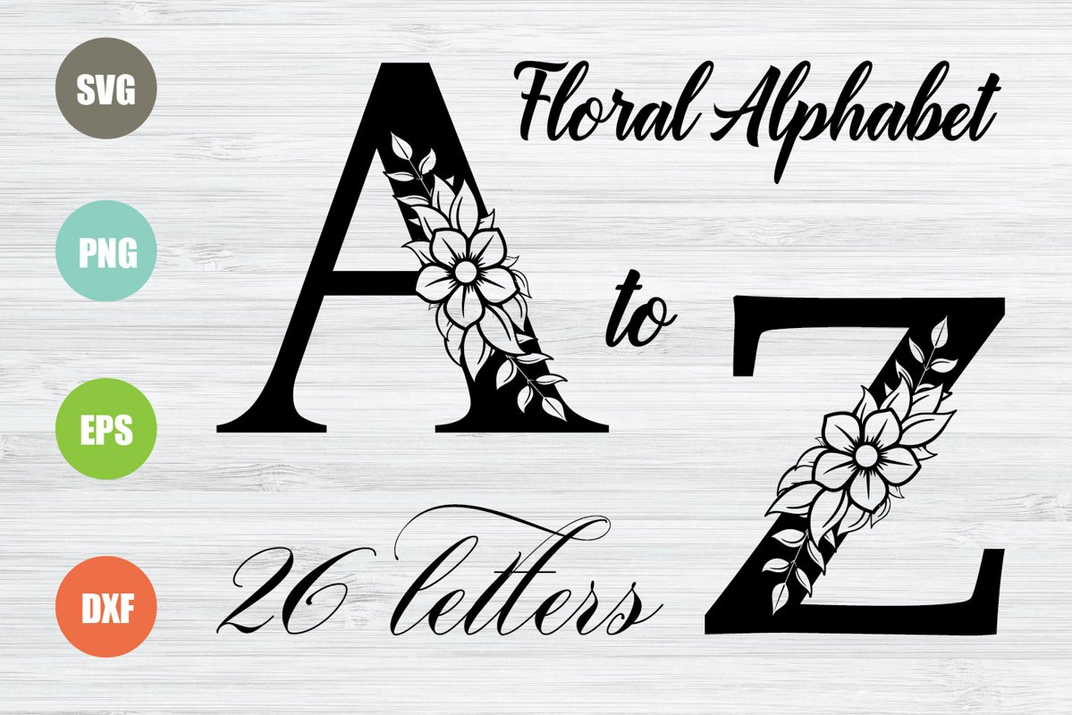 Floral Alphabet SVG, 26 Letters example image 1