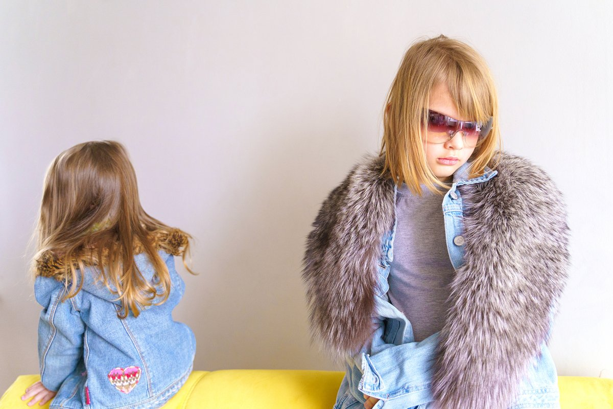 Hipster girls in denim jackets in sunglasses, hat. Fashion example image 1
