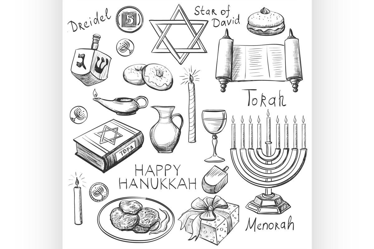 Set of Happy Hanukkah designed elements example image 1