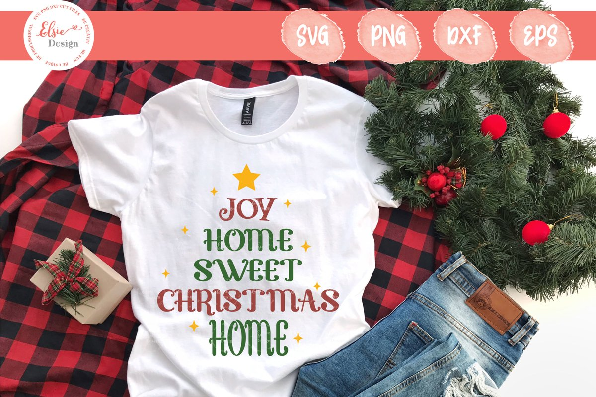 Joy Home Sweet Christmas Home SVG Cut Files example image 1