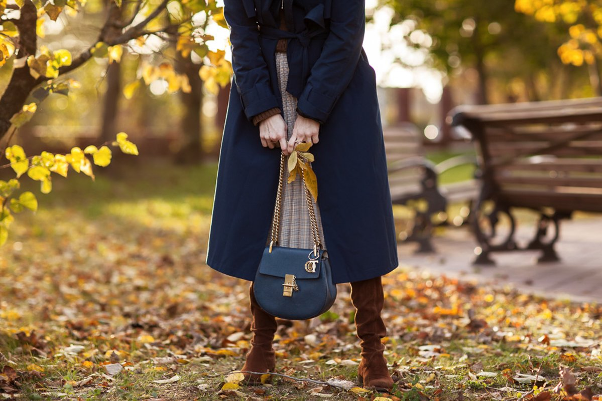 Stylish woman in a blue coat. Autumn, clothing details example image 1