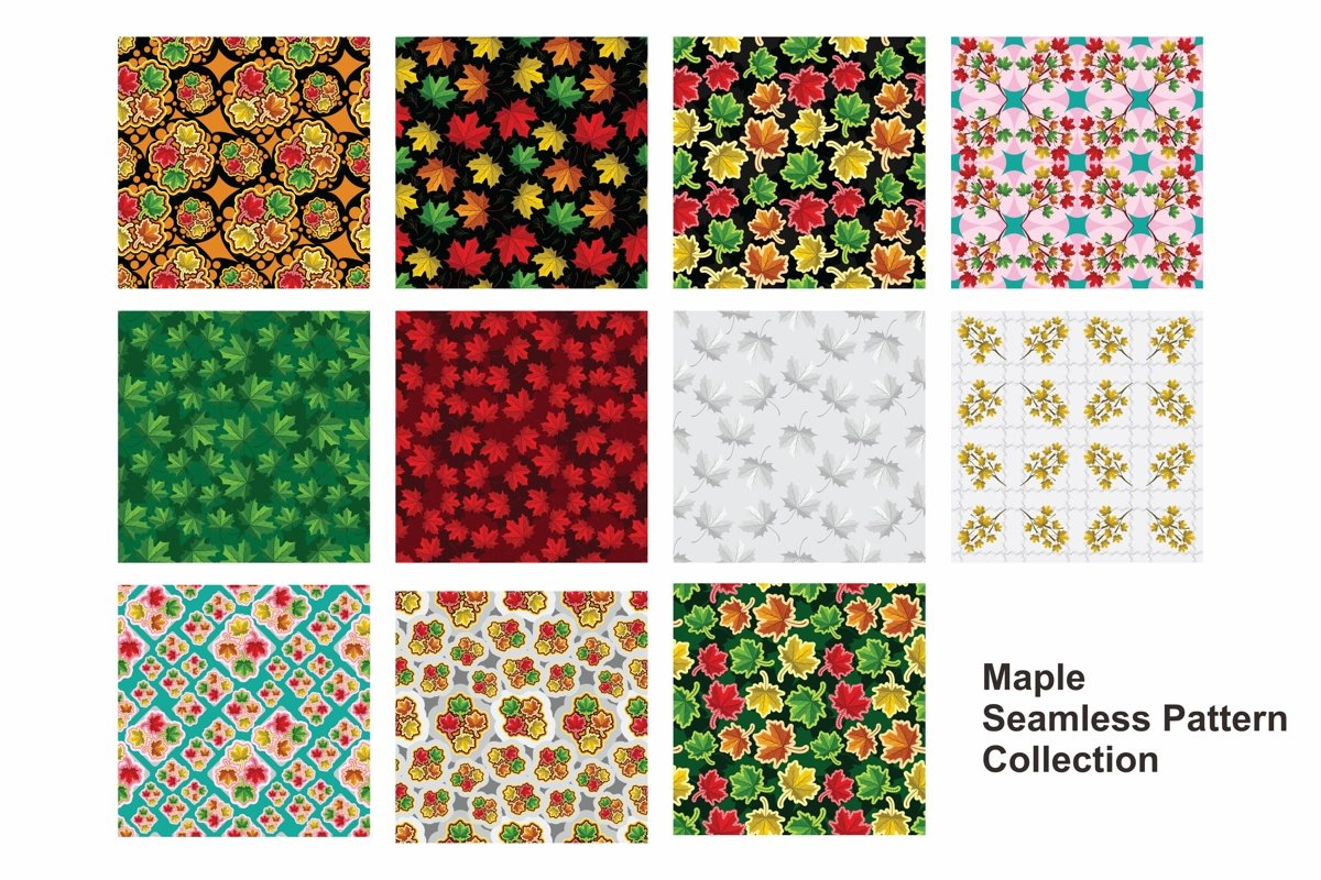 Set Of Maple Leaf Seamless Pattern Vector example image 1