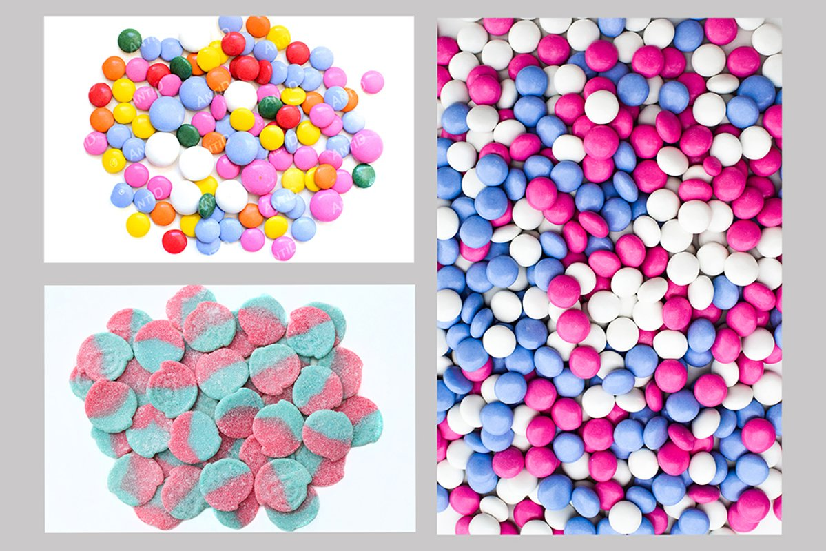 Set of 3 images of textures of sweets. Copy space example image 1