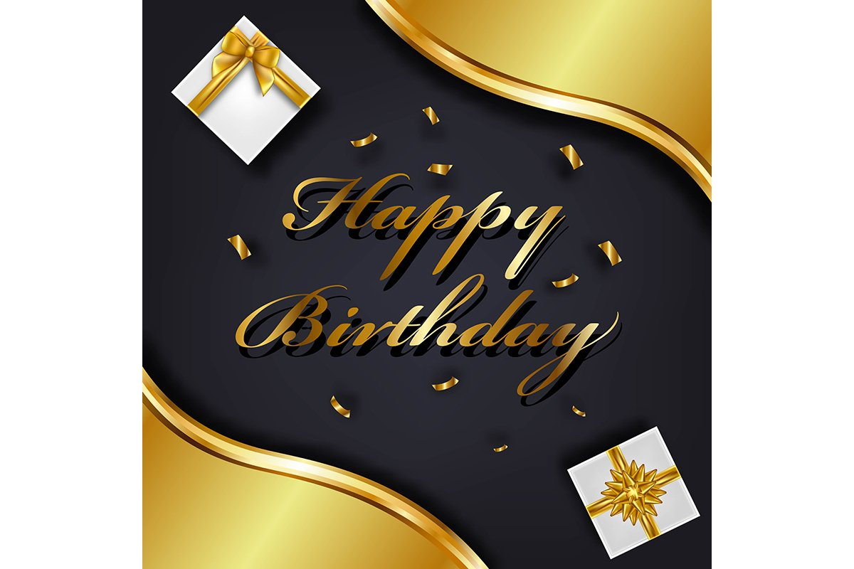 Happy Birthday greeting card template. Luxury gift box with example image 1
