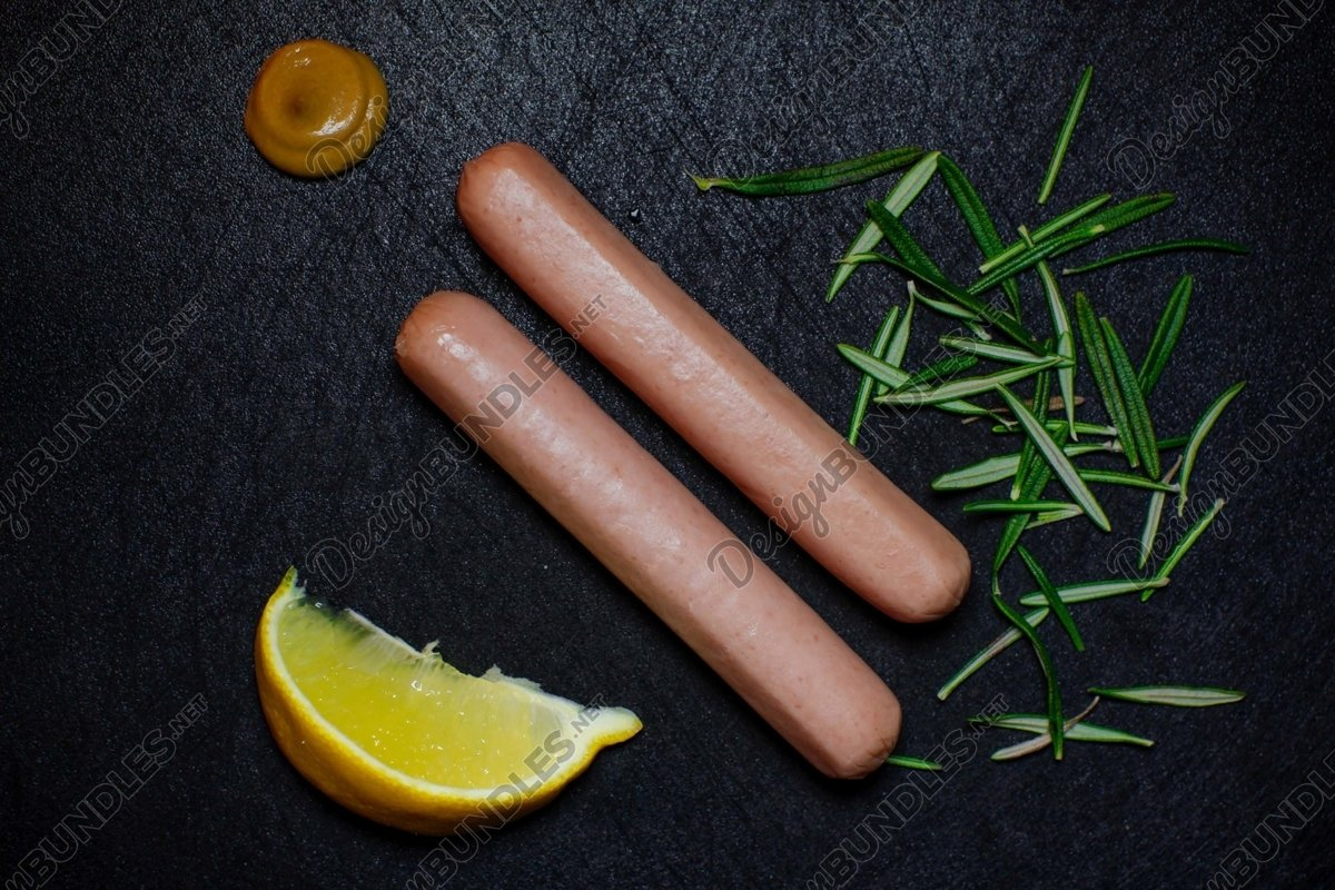 Stock Photo - Sausage and lemon on the table example image 1