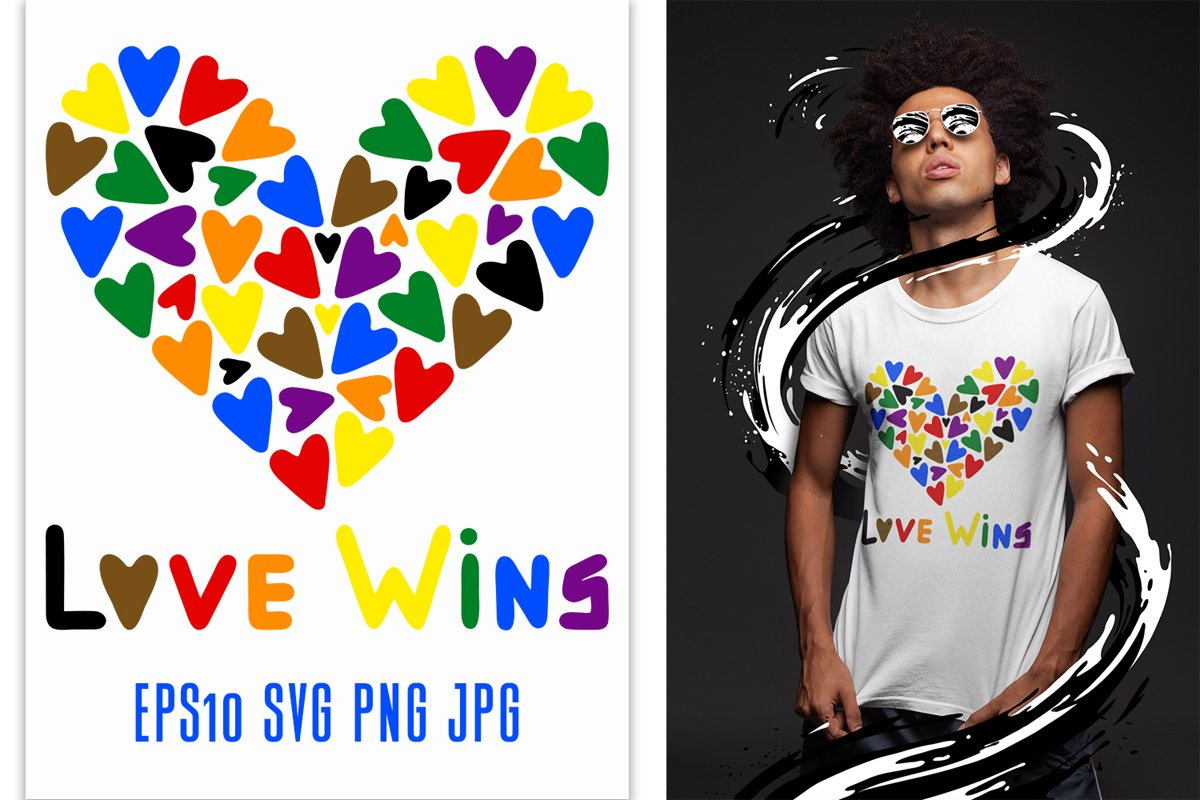 Gay Pride LGBT Love wins quote with hearts in new colors example image 1