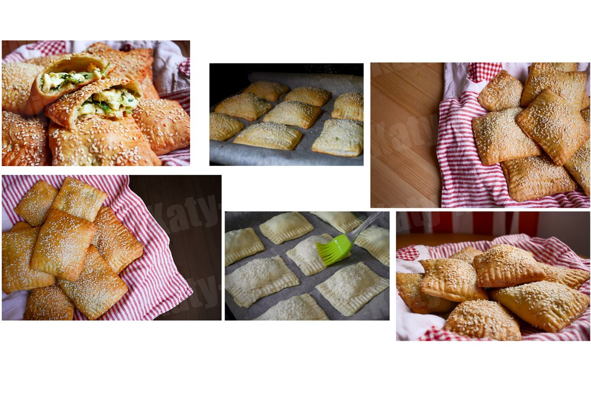 Set of 6 photos of puff pastry pies with sesame seeds on top example image 1
