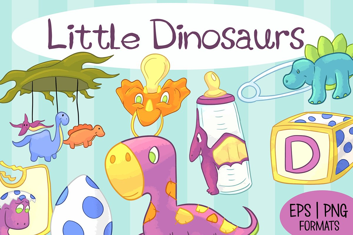 Little Dinosaurs Illustration Bundle example image 1