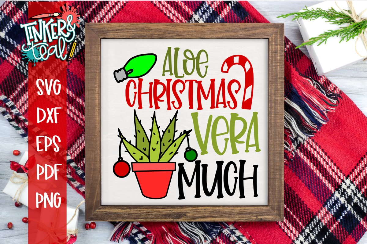 Aloe Christmas Vera Much Cactus Christmas SVG example image 1