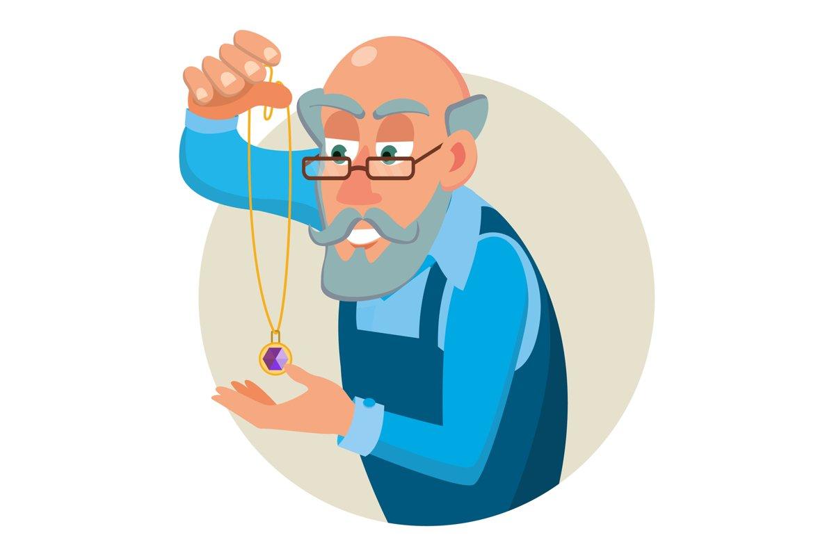 Jeweler, Goldsmith Profession Man Vector. Sapphire, Emerald, example image 1