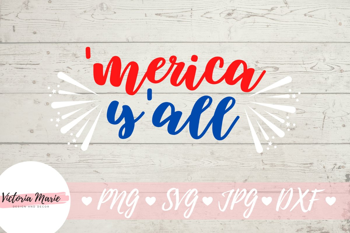 Merica y'all svg, America yall svg, 4th of July svg example image 1