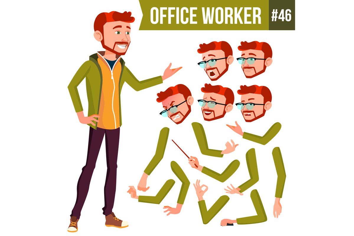Office Worker Vector. Red Head. Face Emotions example image 1