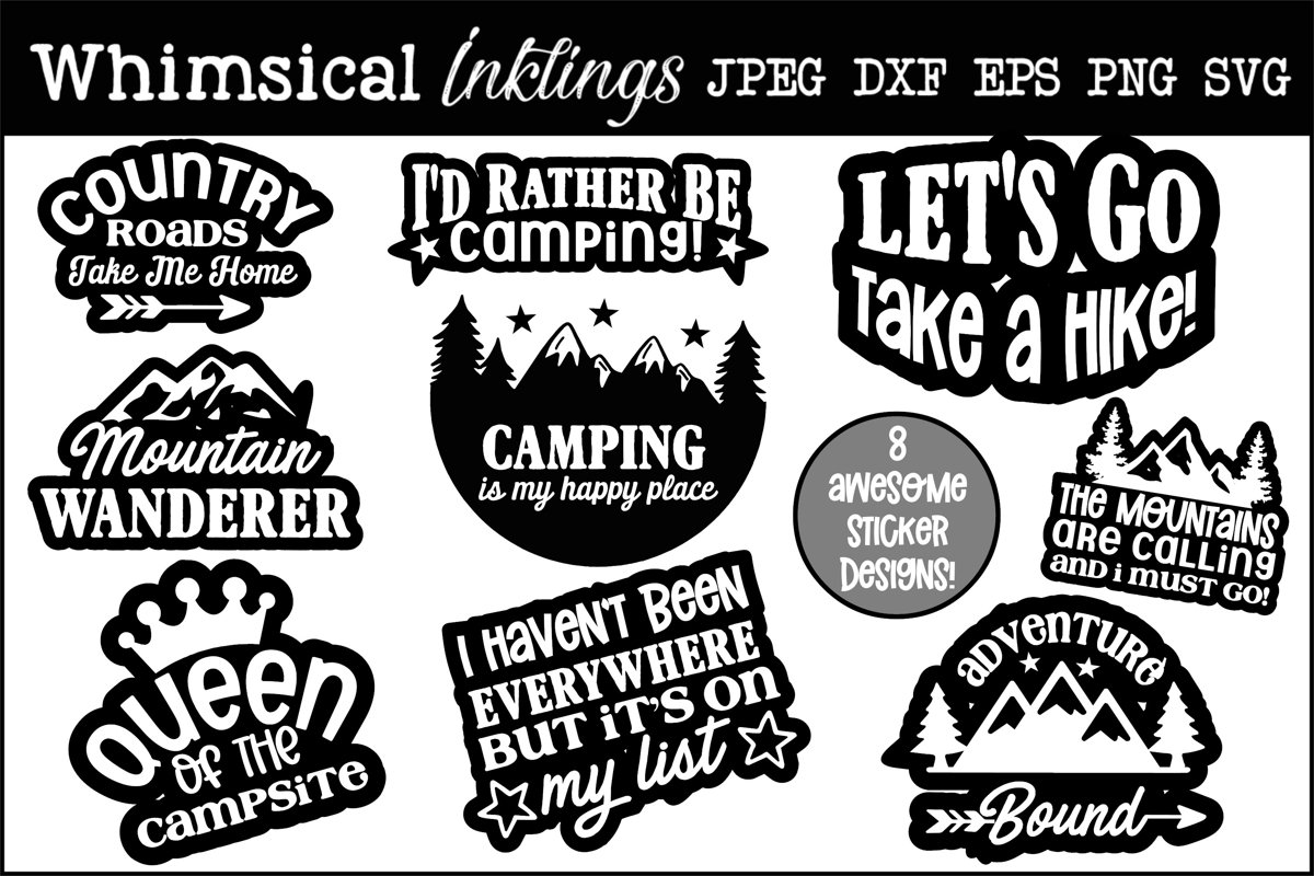 Country Roads-Camping Sticker-Decal SVG Set example image 1