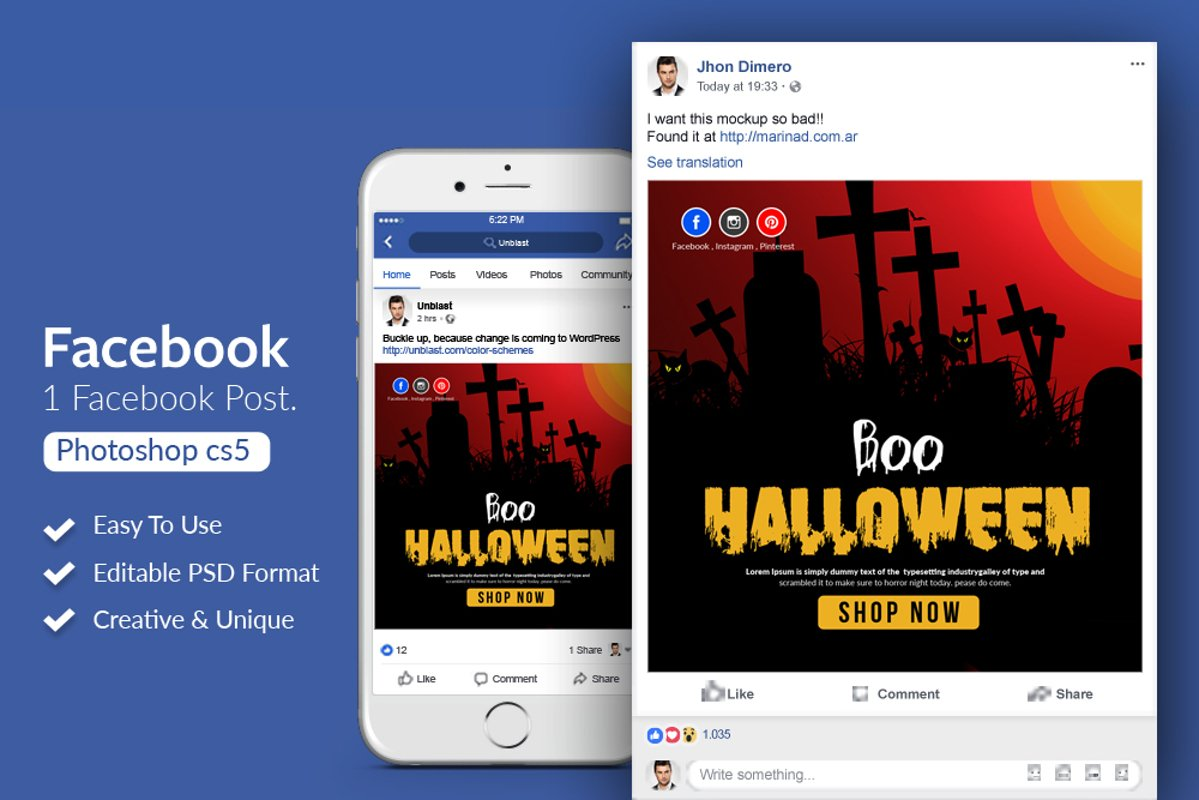 Halloween Facebook Post Banner example image 1