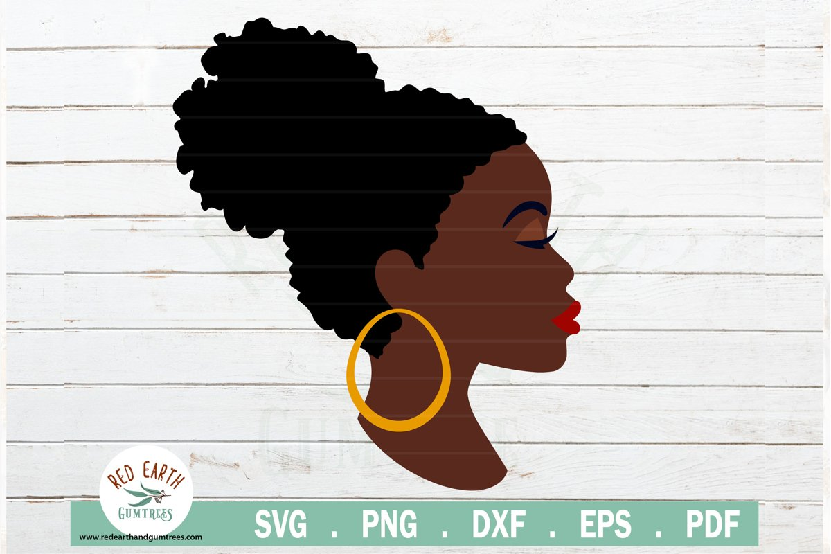 Afro puff hair black woman, woman with eyeshadow SVG,PNG,DXF example image 1