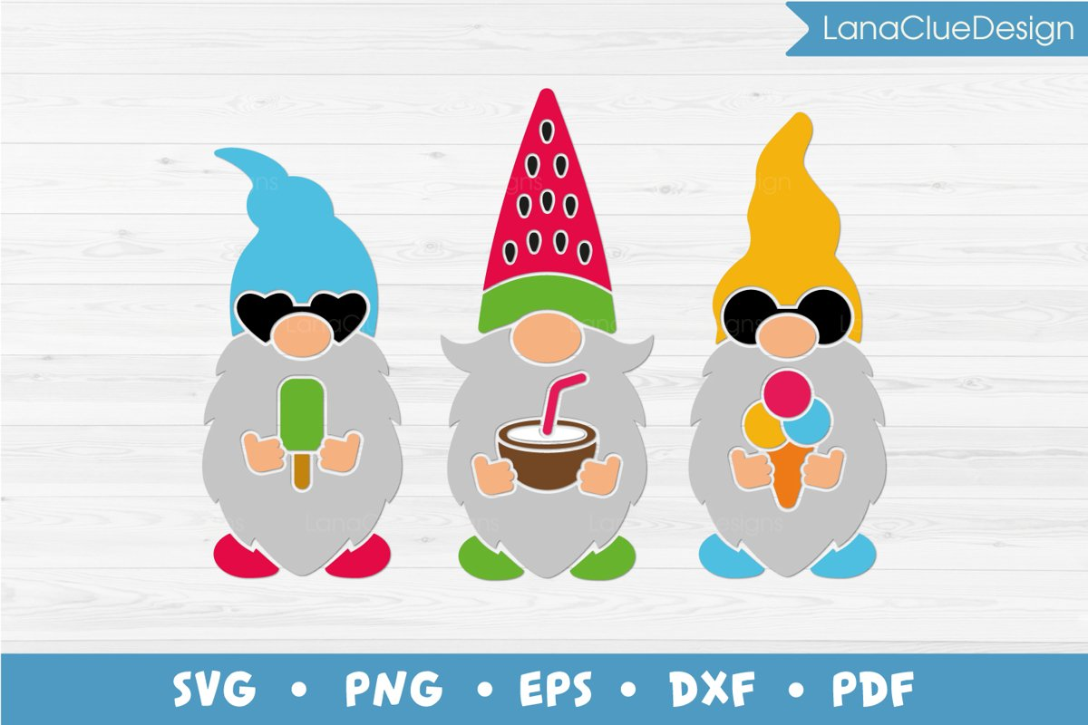 Summer Gnomes SVG, Gnome with Icecream, Watermelon Gnome example image 1