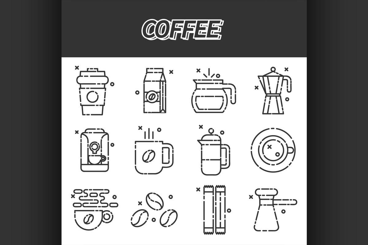 Coffee flat icons set example image 1
