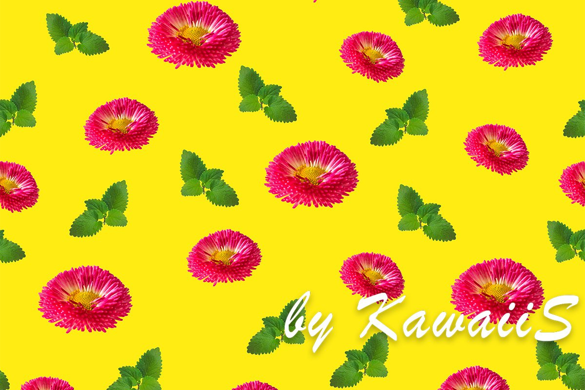 Pink daisy flowers with green leaves seamless pattern yellow example image 1