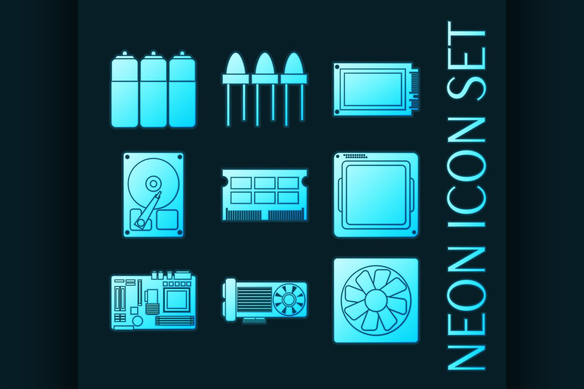 Set of electronic parts blue glowing neon icons example image 1