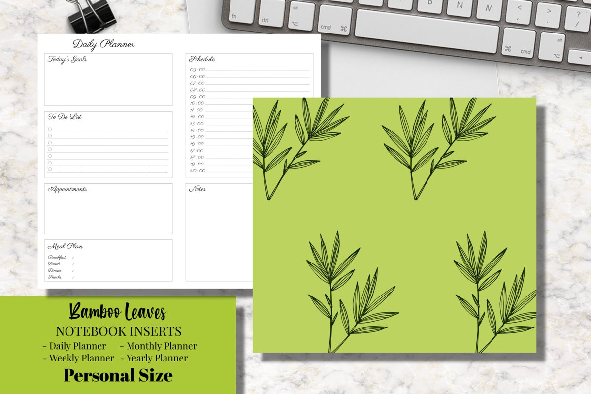 Bamboo Leaves Personal Size Notebook Inserts Planner example image 1