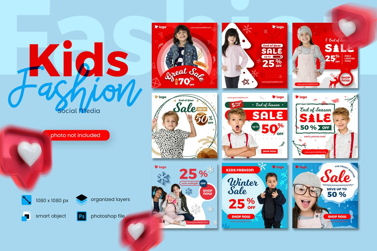 Kids Fashion Winter Sale Social Media Post template example image 1