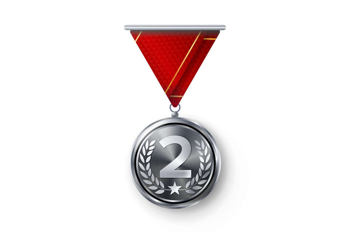 Silver Medal Vector. Metal Realistic Second Placement example image 1